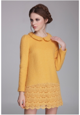 Free-Shipping-New-Fashion-Women-High-Quality-Yellow-Lapel-Long-Sleeve-Contrast-Lace-Embroidered-Dress